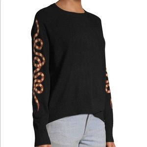 Skull Cashmere Serpent Sleeve Black Sweater